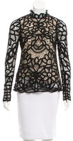 Maje Lace Mock Neck Top