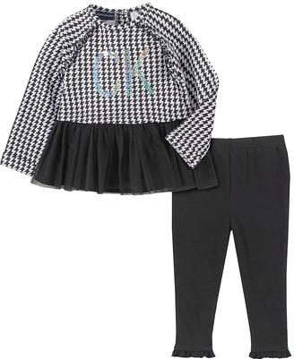 Calvin Klein Jeans Girls' Leggings ASSORTED - Black & White Houndstooth Ruffle-Trim Tunic & Black Leggings - Infant