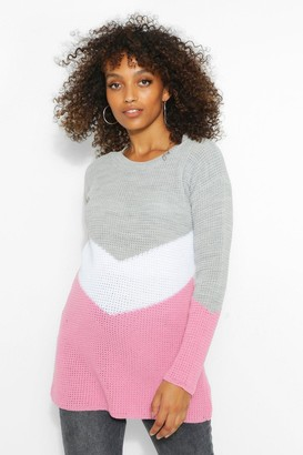 boohoo Maternity Oversized Colour Block Sweater