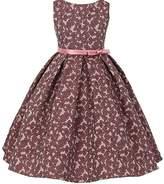 BluNight Collection Sleeveless Floral Jacquard Pleated Skirt Little Girl Flower Girl Dress