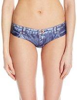 GUESS Women's Blue Jeans Tye Dye Culotte Bikini Bottom