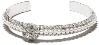 David Morris 18kt white gold diamond Pearl Rose bangle