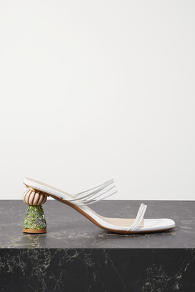 Jacquemus Vallena Sequin-embellished Leather Mules - White
