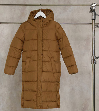 Only Petite padded jacket in brown