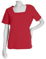 Denim & Co. As Is Essentials Short Sleeve Square Neck T-Shirt