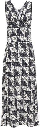 ALEXACHUNG Lace-trimmed Printed Crepe De Chine Maxi Dress
