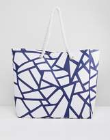 South Beach Geometric Printed Tote Bag With Rope