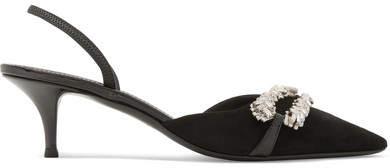 Giuseppe Zanotti Notte Leather-trimmed Embellished Suede Slingback Pumps - Black