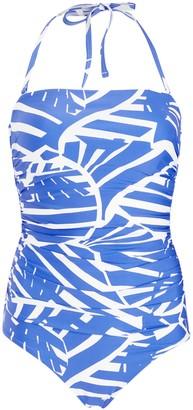 John Lewis & Partners Maui Ruched Bandeau Control Swimsuit, Blue/Multi