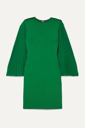 Alice + Olivia Alice Olivia - Zaya Plisse-georgette And Jersey Mini Dress - Forest green