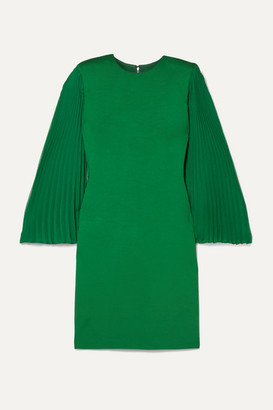Alice + Olivia Alice Olivia - Zaya Plisse-georgette And Jersey Mini Dress - Forest green
