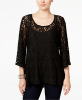 Style&Co. Style & Co. Lace Bell-Sleeve Top, Only at Macy's