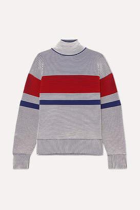 Nagnata - Striped Ribbed Organic Cotton Turtleneck Sweater - Gray