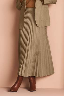 Next Womens Camel Pleated Skirt - Natural