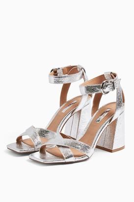 Topshop SACHA Silver Ankle Tie Block Heel Sandals