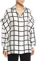 Diane von Furstenberg Grid-Print Button-Down Long-Sleeve Silk Short