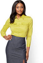 New York & Co. 7th Avenue SecretSnap Madison Stretch Shirt - Lime - Petite