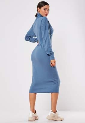 Missguided Blue Oversized Rib Roll Neck Midi Dress