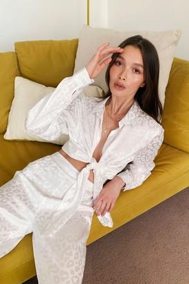 Nasty Gal Womens Take Meowt Satin Tie Blouse - White