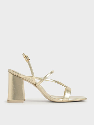 Charles & Keith Metallic Strappy Chunky Heel Sandals