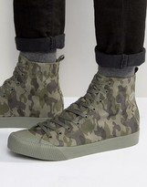 Asos Lace Up High Top Sneakers in Green Faux Suede