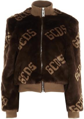 GCDS Faux Fur Logo Bomber Jacket