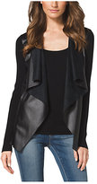 Michael Kors Leather-Front Cotton-Blend Cardigan Plus Size