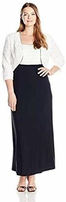 R & M Richards R&M Richards Women's Plus Size Long Lace Jacket Dress with Sequins