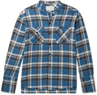 Greg Lauren Grandad-Collar Frayed Checked Cotton-Flannel Shirt