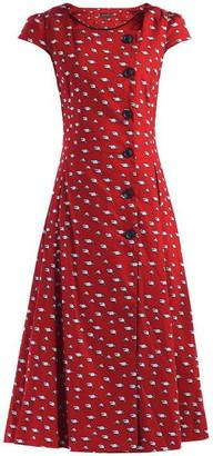 Jolie Moi Button Front Fit & Flare Dress