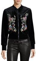 Hazel Floral-Embroidered Velvet Bomber Jacket, Black