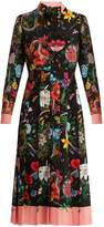 Gucci Floral and snake-print silk midi dress