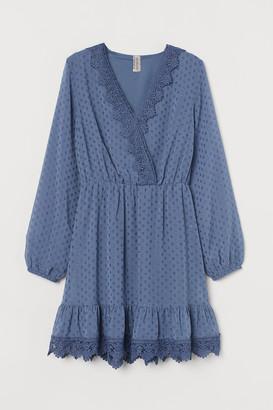 H&M Lace-detail Plumeti Dress