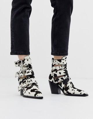 Jeffrey Campbell Cow Print Mid Heel Buckle Boot-Multi