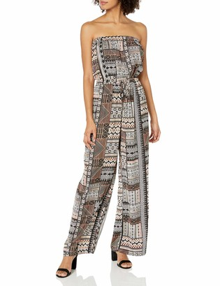 MinkPink Women's Intricate Inca Strapless Wide Leg Printed Jumpsuit