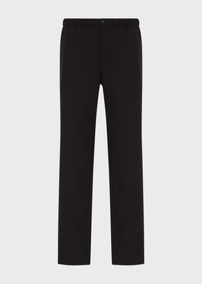 Emporio Armani Natural Stretch Canvas Trousers