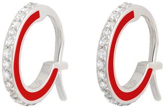 Raphaele Canot Skinny Deco Red Enamel Hoop Earrings - White Gold