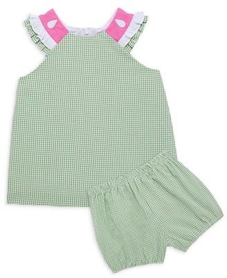 Florence Eiseman Baby Girl's 2-Piece Watermelon Check Seersucker Top & Bloomers Set