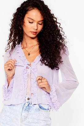 Nasty Gal Womens Sheer Us Out Ruffle Tie Blouse - Lilac