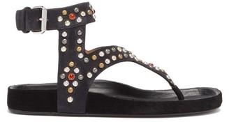 Isabel Marant Elwina Crystal-embellished Suede Sandals - Womens - Black