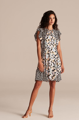 Rebecca Taylor Bow Fleur Print Mix Short Dress