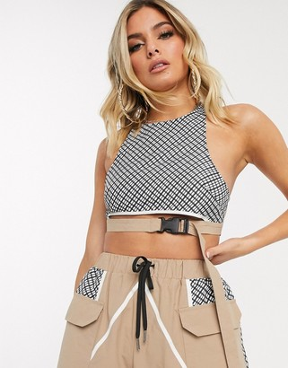 ASOS DESIGN check track bra top in shell fabric co-ord