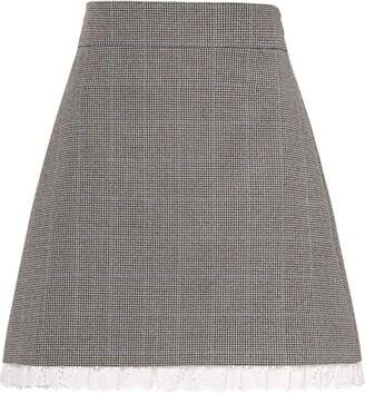 Miu Miu Houndstooth Lace-Trim Skirt