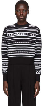 Proenza Schouler Black and White PSWL Logo Cropped Sweater