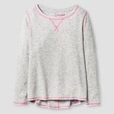 Cat & Jack Girls' Woven Long Sleeve Tee Cat & Jack - Heather Grey