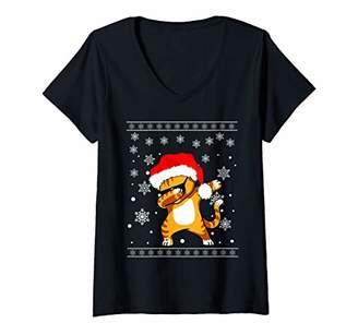Womens Dabbing Cat Santa Matching Family Kids Boys Girls Xmas Gift V-Neck T-Shirt