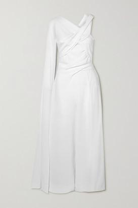 Talbot Runhof Sina Cape-effect Gathered Crepe Jumpsuit - White