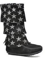 Minnetonka Kids's Star 3 Layer Zip-up Boots in Black