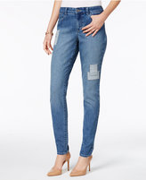 Style&Co. Style & Co Railroad Stripe Patched Skinny Jeans, Only at Macy's
