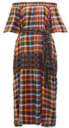 Ace&Jig Casa Off The Shoulder Checked Cotton Maxi Dress - Womens - Black Multi